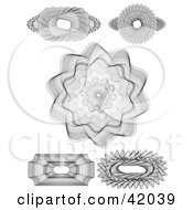 Clipart Illustration Of Five Intricate Guilloche Designs On A White Background by stockillustrations