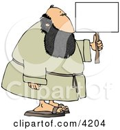Fat Bearded Man Holding A Blank Sign Clipart