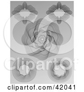 Clipart Illustration Of Five Intricate Guilloche Patterns On A Gray Background by stockillustrations