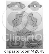Five Intricate Guilloche Designs On A Gray Background