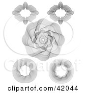 Clipart Illustration Of Five Intricate Guilloche Patterns On A White Background by stockillustrations