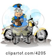 Motorcycle Policeman Filling Out A Traffic CitationTicket Form Clipart