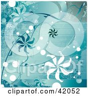 Clipart Illustration Of A Blue Grunge Floral Background Of Spiral Flowers by L2studio