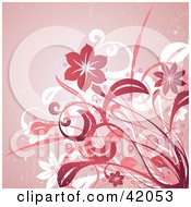 Clipart Illustration Of A Grunge White Red And Pink Floral Background by L2studio