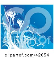 Clipart Illustration Of A Blue And White Grunge Floral Background Of Flowers by L2studio
