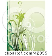 Clipart Illustration Of A Grunge Green Flower Background