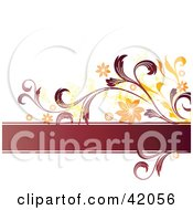 Clipart Illustration Of A Grunge Text Box Orange And Red Floral Background On White