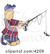 Boy Holding Fishing With Earthworm Bait Clipart