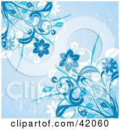 Clipart Illustration Of A Blue Grunge Background Of Flowering Corners by L2studio