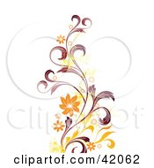 Clipart Illustration Of A Grunge Red Orange And Yellow Vine Background On White