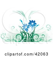 Clipart Illustration Of A Green And Blue Grunge Background Of Flowers And Dots On White by L2studio