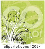 Clipart Illustration Of A Grunge Green And White Floral Background