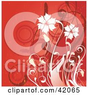 Clipart Illustration Of A Grunge Red And White Floral Background by L2studio