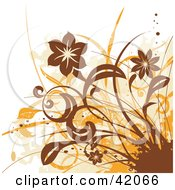 Clipart Illustration Of A Grunge Brown And Orange Floral Background On White by L2studio