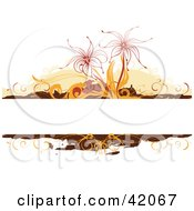 Clipart Illustration Of A Text Bar With Orange Brown And Red Floral Grunge On White by L2studio