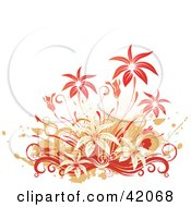 Clipart Illustration Of A Grunge Red And Orange Floral Background On White by L2studio
