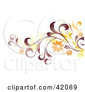 Clipart Illustration Of A Grunge Yellow Red And Orange Floral Background On White by L2studio