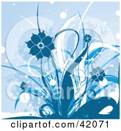 Clipart Illustration Of A White And Blue Grunge Floral Background Of Flowering Plants by L2studio