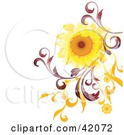 Clipart Illustration Of A Nature Background Of A Bright Sunflower With Red And Orange Vines