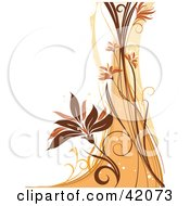 Clipart Illustration Of A Grunge Floral Background Of An Orange And Brown Wave And Vine On White