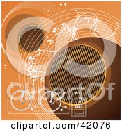 Clipart Illustration Of An Orange Grunge Music Background Of Speakers Turn Tables And Waves by L2studio