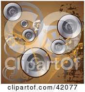 Clipart Illustration Of A Brown Grunge Music Background Of Silver Speakers Circles And Music Notes by L2studio
