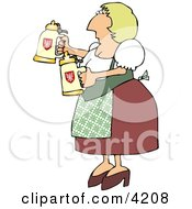 Oktoberfest German Woman Serving Beer In Steins Clipart