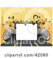 Clipart Illustration Of A Background Of A Blank Display With Speakers Vines And A City Skyline On Orange by L2studio