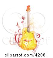Clipart Illustration Of A Grunge Yellow Guitar With Pink Vines And Flowers