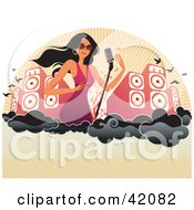 Clipart Illustration Of A Sexy Female Singer With A Microphone by L2studio