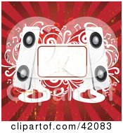 Clipart Illustration Of A Red And White Grunge Music Background Of Modern Speakers A Blank Text Box And Vines by L2studio #COLLC42083-0097
