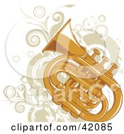 Clipart Illustration Of A Grungy Tuba Background With Beige Vines And Circles
