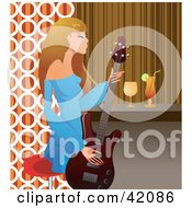 Clipart Illustration Of A Fashionable Female Guitarist Playing A Guitar At A Bar