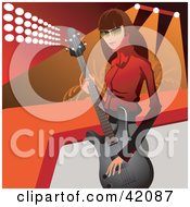 Clipart Illustration Of A Beautiful Brunette Guitarists Standing Near A Stage by L2studio
