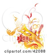 Clipart Illustration Of A Grungy Trumpet Background With Orange And Red Dots Stars Vines And Circles