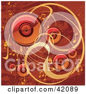 Red And Orange Grunge Music Background Of Speakers Waves And Music Notes