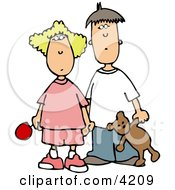 Worried Brother And Sister Holding Hands Clipart