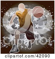 Clipart Illustration Of A Man Running Forward With A Basketball by L2studio #COLLC42090-0097