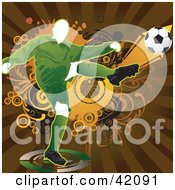 Clipart Illustration Of A Soccer Player Kicking A Ball With Extreme Force