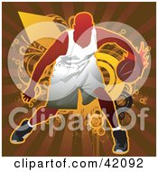 Clipart Illustration Of A Basketball Player Dribbling A Ball Defensively by L2studio #COLLC42092-0097