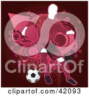 Clipart Illustration Of A Pink Soccer Player Kicking A Ball Defensively