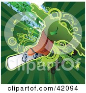Clipart Illustration Of An Extreme Snowboarder Balancing by L2studio