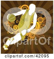 Clipart Illustration Of A Green And White Basketball Player Running With A Ball
