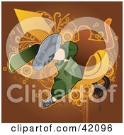Clipart Illustration Of An Extreme Skateboarder Catching Air