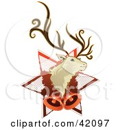 Christmas Background Of A Reindeer Head On A Star With Bells