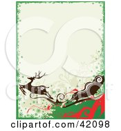 Clipart Illustration Of A Green Red And White Reindeer And Santas Sleigh Christmas Background