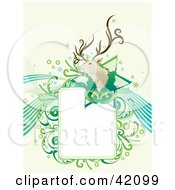 Green And Blue Christmas Background Of A Reindeer Or Buck Head On A Star With Bells And A Text Box