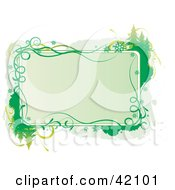 Clipart Illustration Of A Green Christmas Text Box Bordered In Gray And Green Grungy Trees And Snowflakes by L2studio