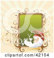 Clipart Illustration Of A Christmas Background Of Santa And Reindeer With A Green Text Box by L2studio