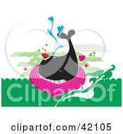 Black Whale Swimming In Pink And Green Water With Hearts